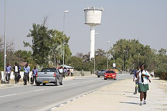 Water supply and sanitation in Namibia - Water tower in the town of Ongwediva in Northern Namibia.