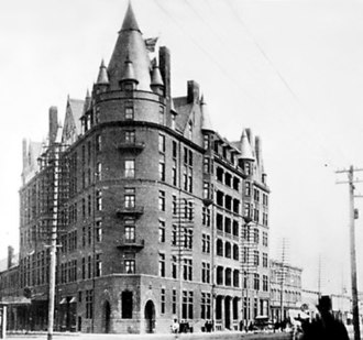 Charles May (Canadian politician) - The Manitoba Hotel in Winnipeg, prior to its destruction in a 1899 fire