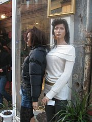 Mannequins in the front of a French clothes shop, in Bordeaux
