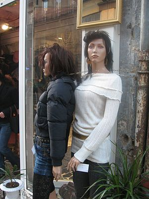 Mannequins bound with a chain