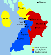 Map of Ayrshire, Scotland
