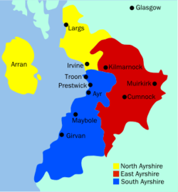 Map Of Ayrshire Ayrshire   Wikipedia