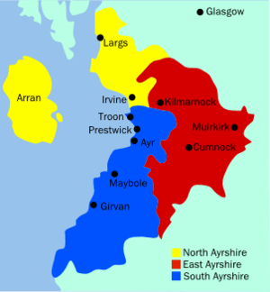 Ayrshire - The administrative subdivisions covering Ayrshire. Arran is administered as part of the North Ayrshire council area, but is historically part of Buteshire.