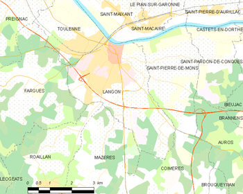 Map of the commune of Langon