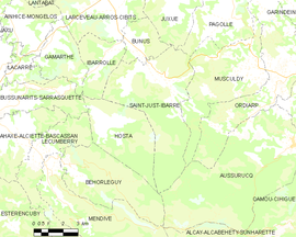 Mapa obce Saint-Just-Ibarre