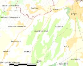 Mapa obce Chassey-le-Camp