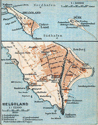 Heligoland - 1910 map of Heligoland. The islands' coastlines have changed somewhat since this map was created.