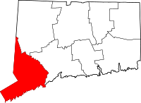 Map of Connecticut highlighting Fairfield County.svg