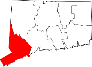 Map of Connecticut highlighting Fairfield County