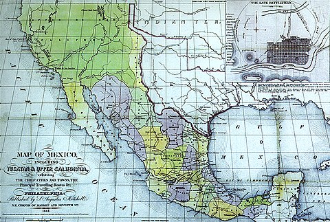 Map of Mexico. S. Augustus Mitchell, Philadelphia, 1847. New California is depicted with a northeastern border at the meridian leading north of the Rio Grande headwaters. Map of Mexico including Yucatan and Upper California 1847.jpg