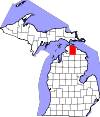 State map highlighting Cheboygan County