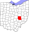 State map highlighting Muskingum County