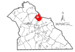 Map of York County, Pennsylvania highlighting East Manchester Township