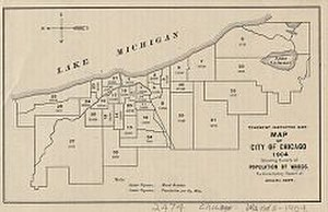 Chicago City Council - Image: Map of city of Chicago Ward System by population 1904