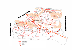 Mayabeque Province - Road map of Mayabeque Province