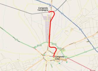 Cerignola - Image: Mappa ferrovia Cerignola Città Cerignola Campagna