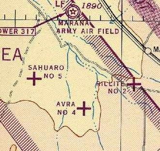 Pinal Airpark - 1945 Phoenix Sectional Chart showing Marana Army Air Field and Marana Auxiliary Army Airfield No. 2, No. 4, No. 5