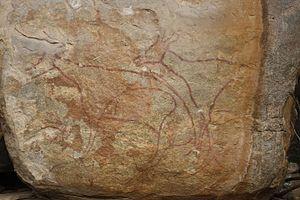 Marayur - A rock painting at Marayoor