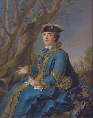Louise Élisabeth of France - Élisabeth in hunting dress, by Jean-Marc Nattier.