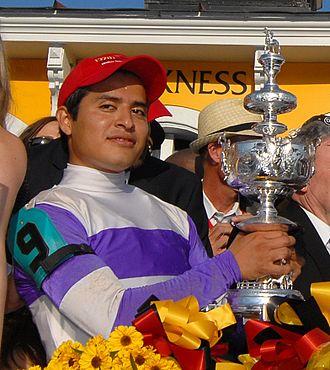 Mario Gutierrez (jockey) - Mario Gutierrez with 2012 Preakness Stakes trophy