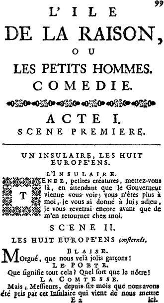 L'Île de la raison - Front page of The Isle of Reason, 1754