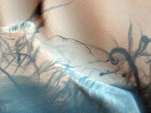 Dust devil tracks - Dust devils cause twisting dark trails on the Martian surface.