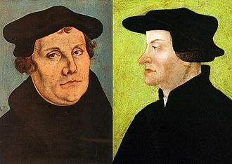 Martin Bucer - Bucer tried to mediate between Martin Luther (left) and Huldrych Zwingli (right) on doctrinal matters.
