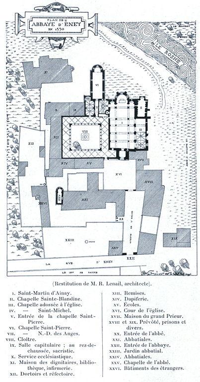 Plan de l'abbaye d'Ainay à Lyon en 1550.