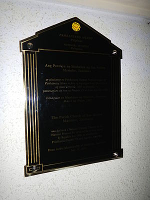 Masinloc Church - National Cultural treasure marker