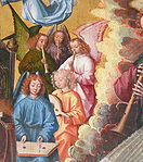 Master of the St Lucy Legend - Mary, Queen of Heaven (detail upper right angels) - c. 1480 - c. 1510.jpg