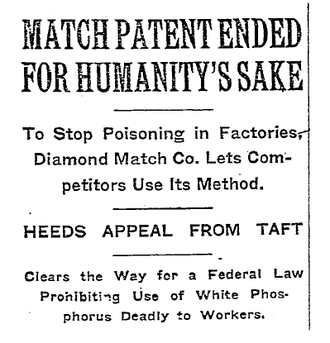 The New York Times report dated 29 January 1911 MatchPatentNYT.png