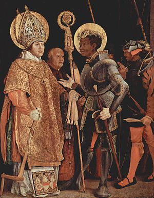 Albert of Brandenburg - Meeting of Saint Erasmus of Formiae and Saint Maurice, by Matthias Grünewald, between 1517 and 1523.  Grünewald used Albert of Mainz, who commissioned the painting, as the model for St. Erasmus (left).