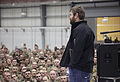 Matt Light, front, a former offensive tackle for the New England Patriots football team, speaks with U.S. Service members during the 2013 USO Chairman's Holiday Tour at Bagram Airfield, Parwan province 131209-A-HQ649-150.jpg