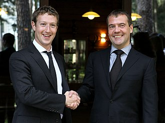 Mark Zuckerberg - Zuckerberg and Russian President Dmitry Medvedev during their meeting at the Russian leader's residence outside Moscow, October 1, 2012