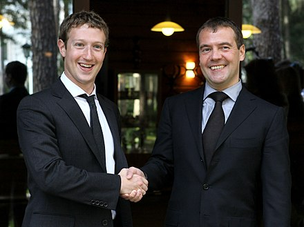 Zuckerberg and Russian President Dmitry Medvedev during their meeting at the Russian leader's residence outside Moscow, October 1, 2012 Medvedev and Zuckerberg October 2012-1.jpeg