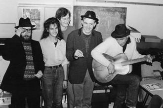 Charles Thomson (artist) - Sexton Ming, Tracey Emin, Charles Thomson, Billy Childish and musician Russell Wilkinson at the Rochester Adult Education Centre 11 December 1987 to record The Medway Poets LP