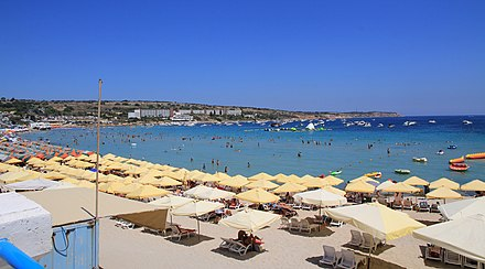 Mellieha Bay beach Mellieha Bay beach Malta 1.jpg