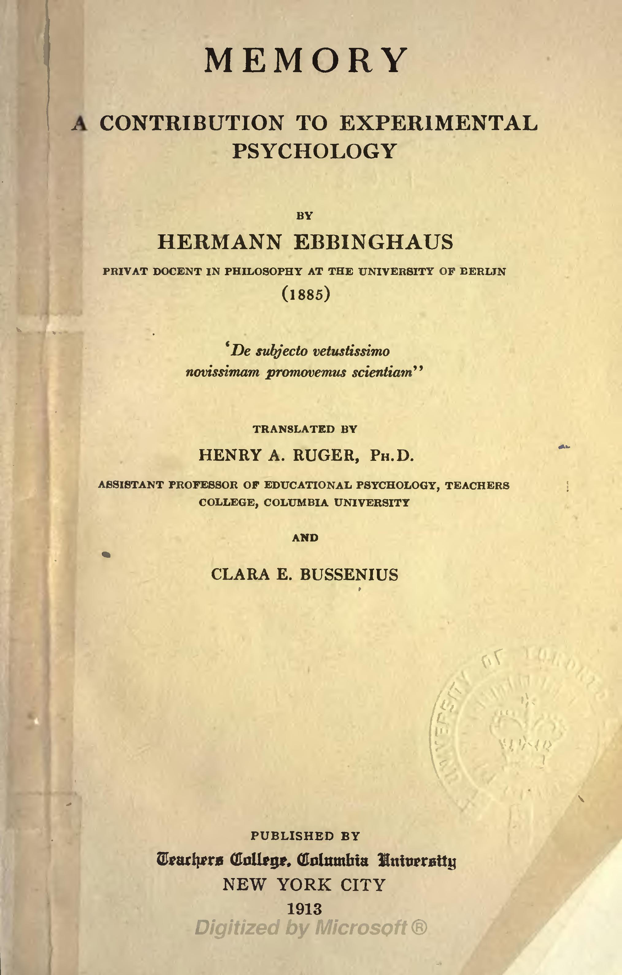 hermann ebbinghaus biography and studies What was hermann ebbinghaus's contribution to the study of memory in ebbinghaus's studies of memorization of nonsense syllables, who did the memorizing.