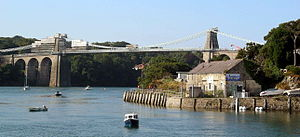 Menai Suspension Bridge - Menai Suspension Bridge being painted in August 2005