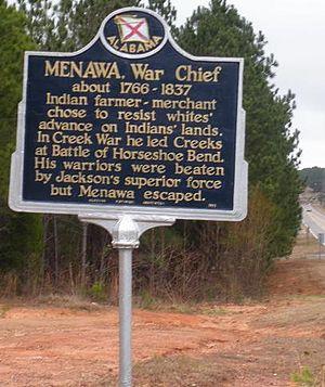 Menawa - A historic marker near Lake Martin, Alabama notes the significance of Menawa.