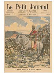 Menelik II la bătălia de la Adua - descriere în Le Petit Journal