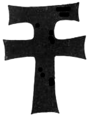 John Twynyho - Merchant's mark of John Twynyho (d.1485), A Tau Cross combined with a Latin Cross, as indicated by the shape of the matrix of the missing monumental brass at the top of his ledger stone in Lechlade Church