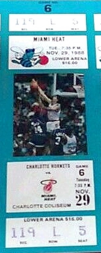 1988–89 NBA season - A ticket for a game between the Miami Heat and the Charlotte Hornets during their inaugural season.