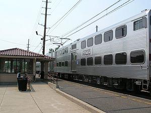 South Shore Line - A bilevel unit at Miller in 2011.