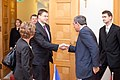 Ministru prezidents Valdis Dombrovskis tiekas ar Francijas satiksmes ministru Tjerī Mariāni (6748208541).jpg