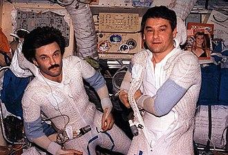 Valery Korzun - Korzun and Aleksandr Kaleri preparing for spacewalk from Mir.