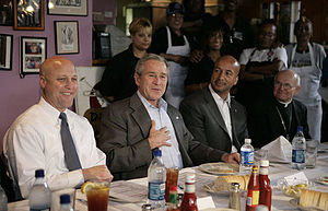 Alfred Clifton Hughes - Archbishop Alfred Hughes (far right) with (right to left) New Orleans Mayor Ray Nagin, President George W. Bush, and Louisiana Lt. Gov. Mitch Landrieu.