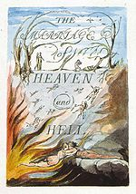 "A book cover, with the words ""The Marriage of Heaven and Hell"" written on the cover."
