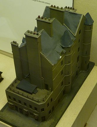 Old Tolbooth, Edinburgh - Model of the Old Tolbooth exhibited in Edinburgh's Huntly House Museum. The execution platform can be seen projecting from the building.