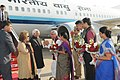 Mohammad Hamid Ansari being received by the Governor of Gujarat, Shri O.P. Kohli and the Chief Minister of Gujarat, Smt. Anandiben Patel, on his arrival at Ahmadabad airport, in Gujarat. Smt. Salma Ansari is also seen.jpg